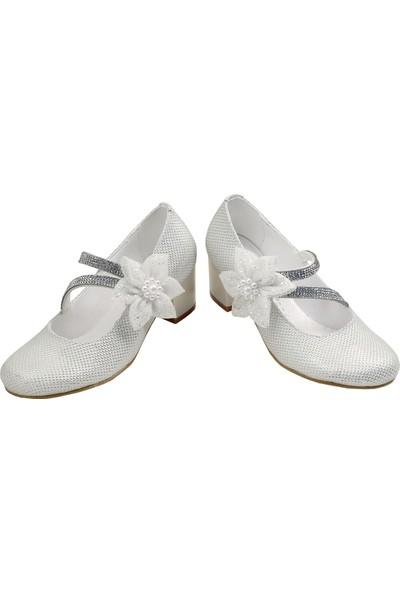 Kaptan Junior Kız Çocuk Topuklu Abiye Ayakkabı Babet Krem