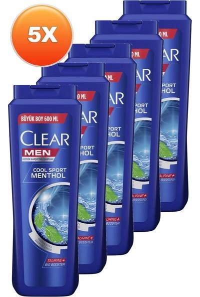 Clear Men Cool Sport Menthol Erkek Şampuan 600 ml 5'li Set