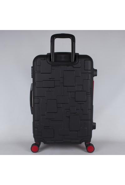 Bagacar Md1 8 Tekerlek Fiber Abs Büyük Boy Kırmızı - Siyah