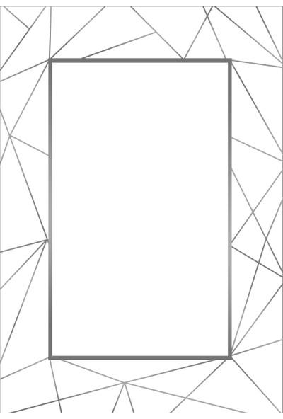 Apree Home Poligon Beyaz Gri, Kaymaz Dod Tabanlı, Makinada Yıkanabilir Halı 80 x 140 cm