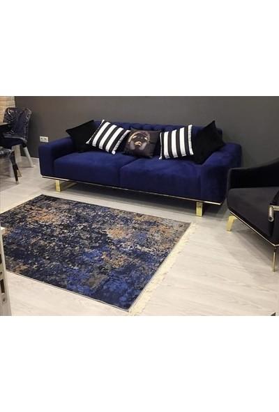 Apree Home Tarz Lacivert, Kaymaz Dod Tabanlı, Makinada Yıkanabilir Halı 80 x 140 cm