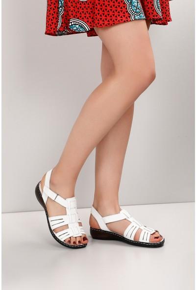Gön Hakiki Deri Kadın Sandalet 45134