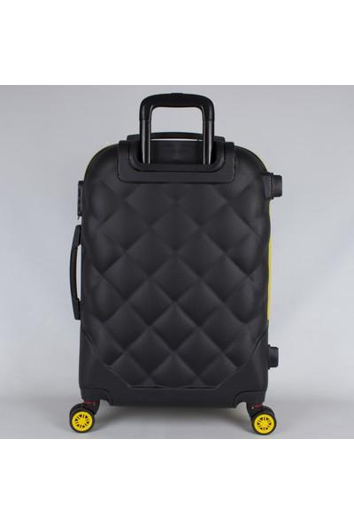 Bagacar Md2 8 Tekerlek Fiber Abs Valiz Seti Sarı - Siyah