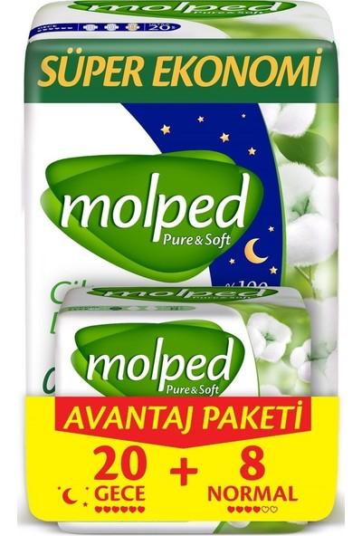 Molped Pure & Soft Hijyenik Ped Avantaj Paketi - Gece 20 Adet + Normal 8 Adet