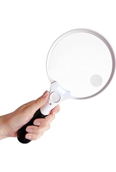 Valkyrie Büyük Boy 3 LED Li 3 Mercekli El Tipi Büyüteç 13,5 cm