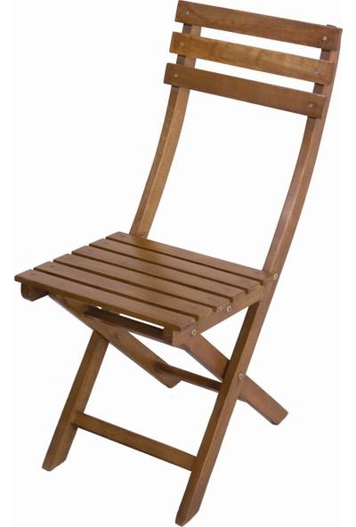 Bahçeme Ahşap Bahçe Balkon Mutfak Sandalyesi -Ada Katlanabilir