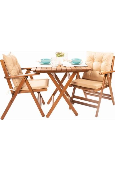Bahçeme Ahşap Bahçe Balkon Seti 80x80 Masa + 2 Sandalye -Antalya Katlanır Minderli Takım