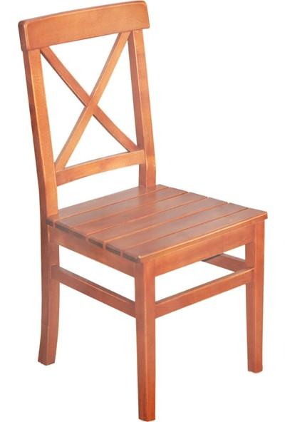 Bahçeme Ahşap Bahçe Balkon Mutfak Sandalyesi -Çeşme 4 Ayak