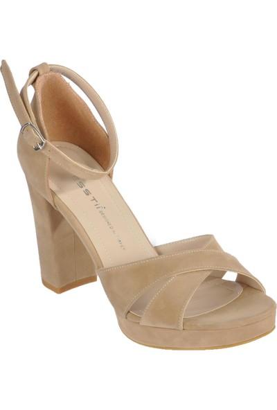 Esstii 234 Ten Süet Kadın Topuklu Ayakkabı