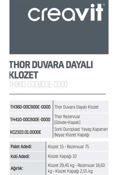 Creavit TH360 Thor Duvara Dayalı Klozet + TH410 Rezervuar(Gövde+Kapak) + Sorti Klozet Kapağı