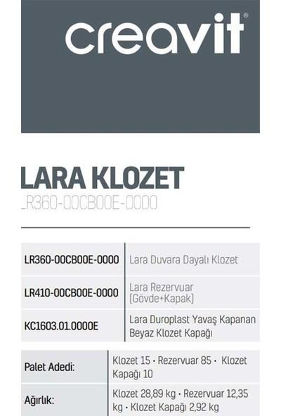 Creavit Lara Duvara Dayalı Klozet + Rezervuar + Kapak