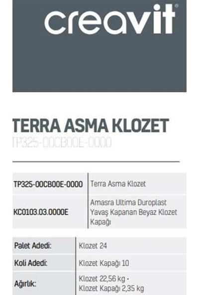 Creavit TP325 Terra Beyaz Asma Klozet - Amasra Yavaş Kapanır Kapak