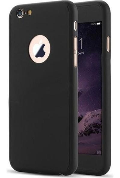 Aksesuarkolic Apple iPhone 7 Kılıf 360 Derece Sert Korumalı Kapak Siyah