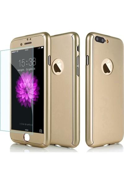 Aksesuarkolic Apple iPhone 7 Plus Kılıf 360 Derece Sert Korumalı Kapak Gold