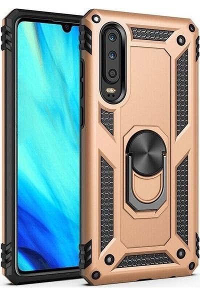 Aksesuarkolic Huawei P Smart Pro 2019 Kılıf Tank Koruma Vega Standlı Yüzüklü Mıknatıslı Gold