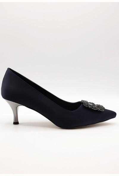 La Scada Mr810 Lacivert Saten Kadın Abiye Ayakkabı