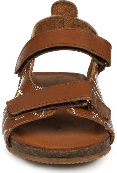 Piarmoni Msm Trend Sandals 2096 Deri Kahverengi Çocuk Sandalet