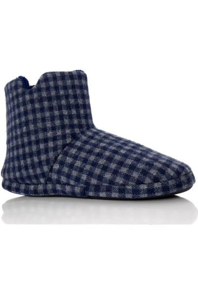 Modafrato Rp-Kareli Erkek Panduf Ev Botu Ev Ayakkabısı Yünlü Astar