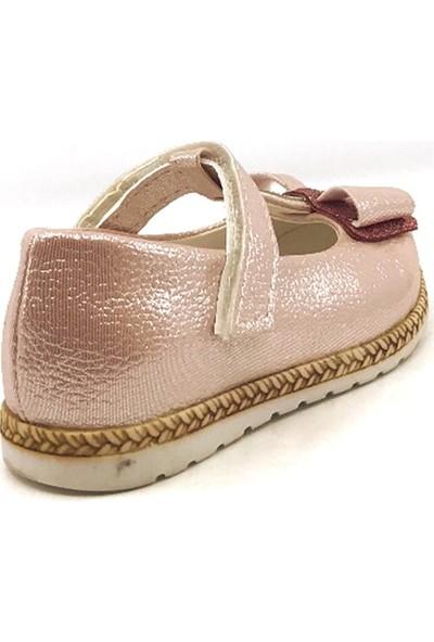Pingu Pudra Abiye Cırtlı Kemerli Tokalı Kız Çocuk Babet Ayakkabısı
