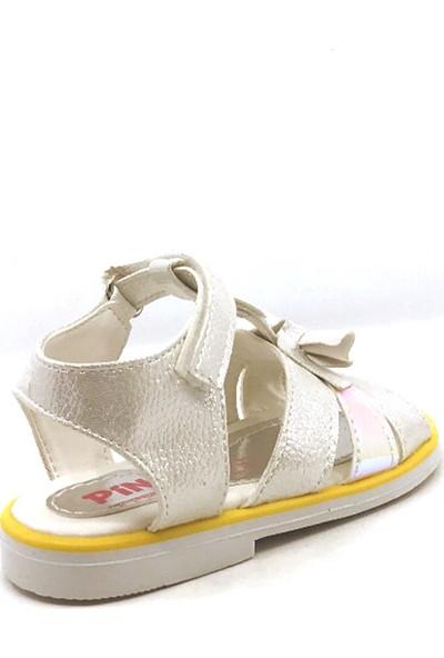 Pingu Sedef Cırtlı Tokalı Kız Çocuk Sandalet Ayakkabısı