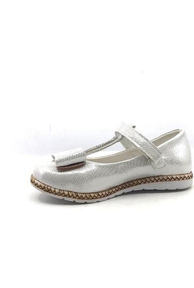 Pingu Gümüş Abiye Cırtlı Tokalı Kız Çocuk Babet Ayakkabısı