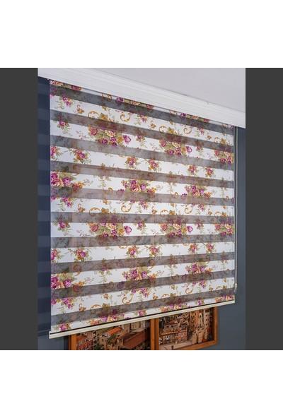 Aniper Zebra Perde Dijital Baskılı Mor Çiçek Desen Stor Perde 80x200 cm
