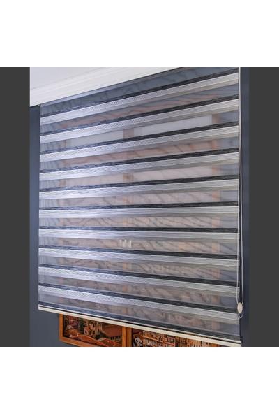 Aniper Zebra Perde Gri Siyah Beyaz Şeritli Lüx Bambo 80x200 cm