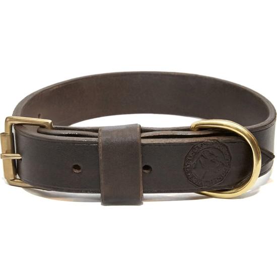 Ca-Leather Savannah - El Yapımı Gerçek Deri Köpek Tasması 27-35 Koyu Kahverengi