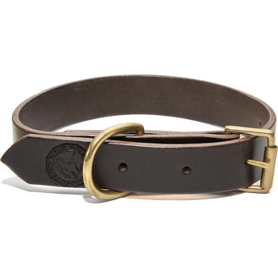 Ca-Leather Twana - El Yapımı Gerçek Deri Köpek Tasması 27-35 Koyu Kahverengi