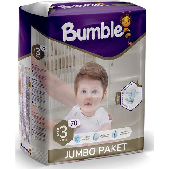 Bumble Bebek Bezi 3 Numara Jumbo Midi 70'li