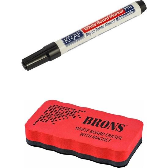 Kraf Beyaz Tahta Kalemi Doldurulabilir 770 Siyah Ve Mıknatıslı Eva Tahta Silgisi