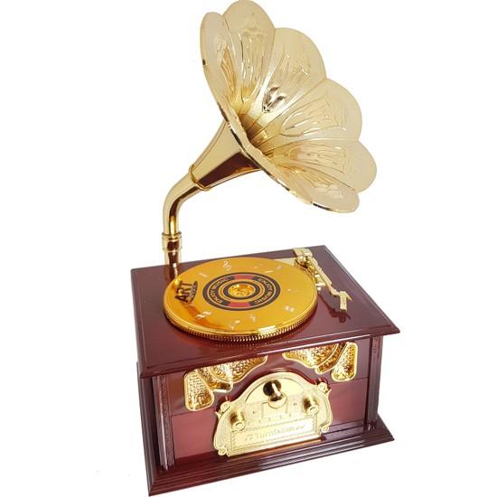 Chavin Dekoratif Nostaljik Dönen Plaklı Gramafon Müzik Kutusu HD133