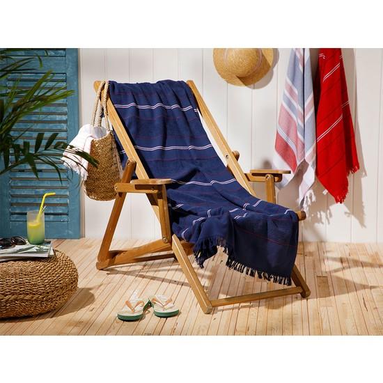 English Home Seaside Pes Çizgili Plaj Havlusu 70 x 150 cm Lacivert