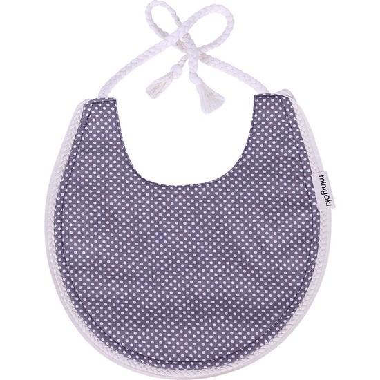 Miniyoki Mercury Gri Mama Önlüğü - Polka Dot Desenli Örgü Şeritli