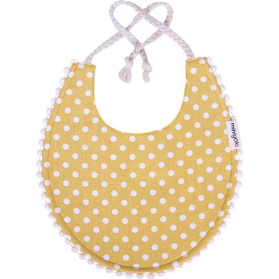 Miniyoki Solare Hardal Sarısı Mama Önlüğü - Polka Dot Desenli Ponpon Şeritli