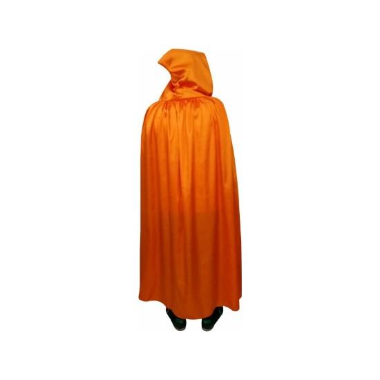 Kostümce Cadılar Bayramı Kapüşonlu Pelerin Turuncu Uzun