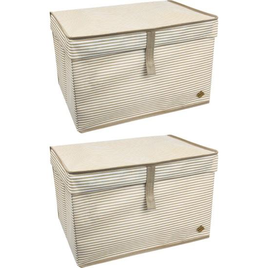 ALAS 2 Adet Kapaklı Çok Amaçlı Hurç Kutu Maksi 50 x 40 x 30 cm Kahverengi
