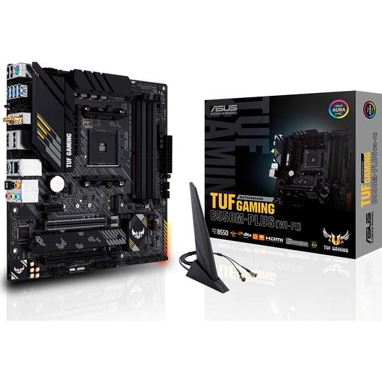 Asus TUF Gaming B550M-Plus (Wi-fi) Amd B550 DDR4 4600 MHz (OC) Am4 AX Wifi + Bt mAtx Anakart