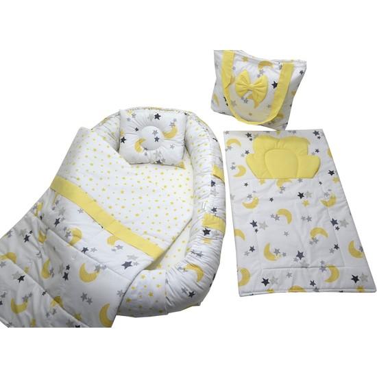 Berababy Babynest Çantalı Sarı Ay Model Bebek Yuvası 5 Parça Set