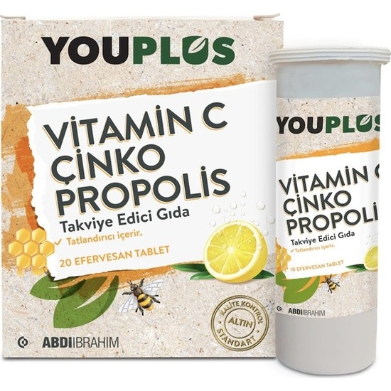 Youplus Vitamin C, Çinko, Propolis Efervesan Tablet Takviye Edici Gıda