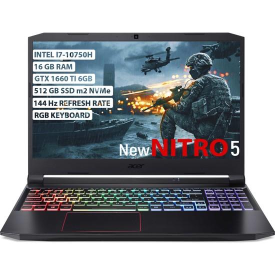 "Acer Nitro 5 Intel Core i7 10750H 16GB 512GB SSD GTX1660Ti Freedos 15.6"" FHD Taşınabilir Bilgisayar NH.Q7PEY.002"