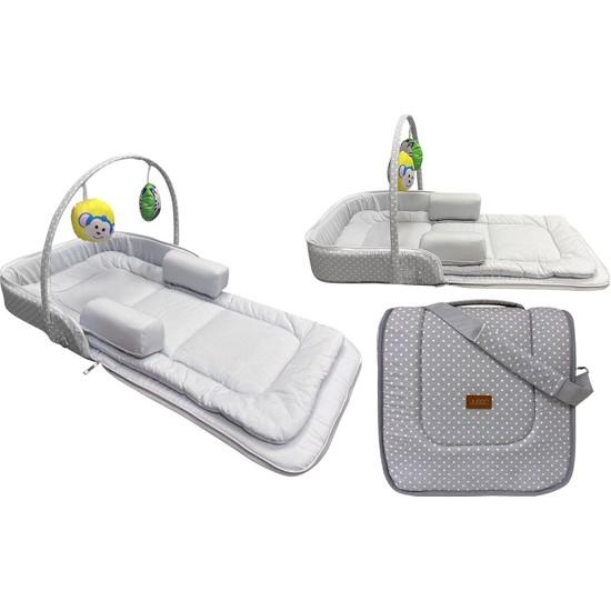 Jusso Çok Amaçlı Portatif Bebek Yatağı 75 x 40 cm - Gri