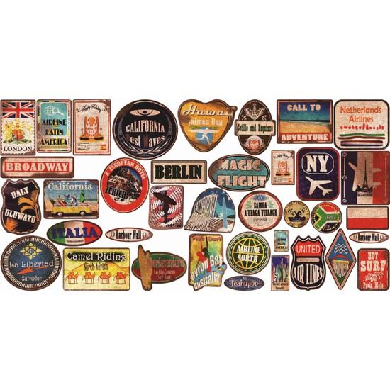 StickerMarket Vintage Sticker Seti 37 Adet 65 x 32 cm