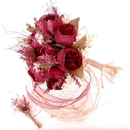 Öz Dokunuş Gelin Buketi Düğün Çiçeği Yapay-Gerçek Çiçek Kırmızı Gül Demeti