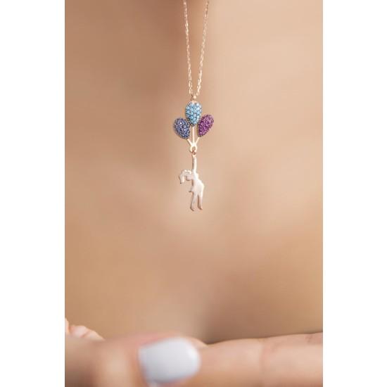 Elika Silver Uçan Balon Figürlü Rose Kaplama 925 Ayar Gümüş Kolye
