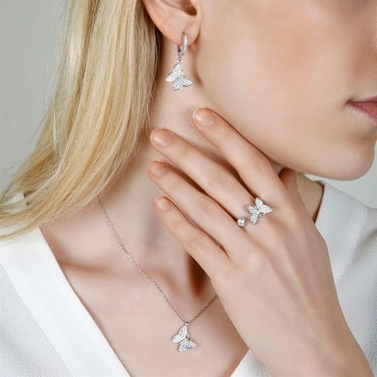 Afrodit Silver Kelebek Kolye Küpe Yüzük Gümüş Kadın Set