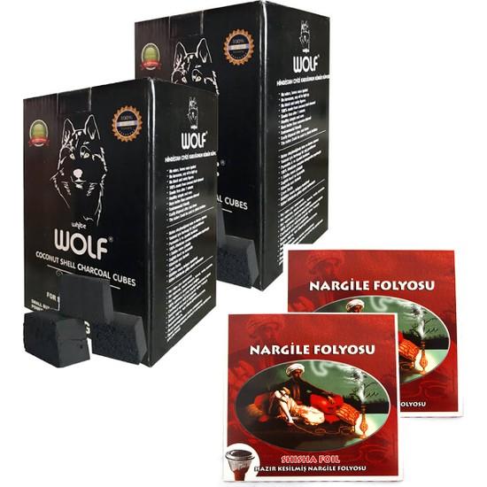 Wolf Hindistan Cevizi Nargile Kömürü ve Kesilmiş Folyo 2 Adet