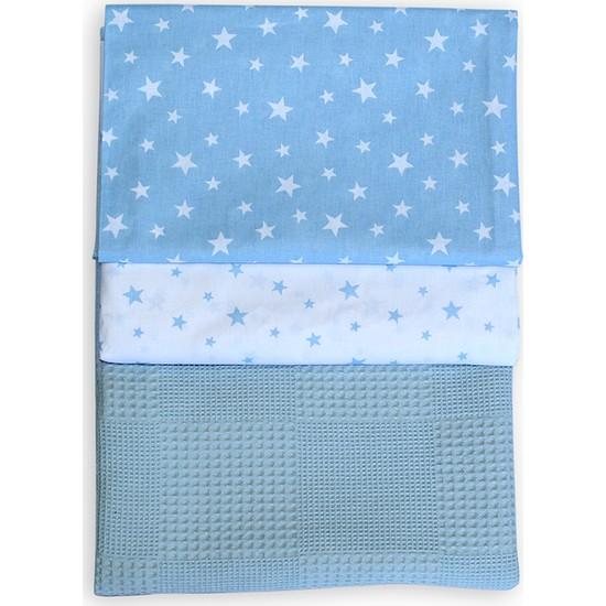 Bade Tasarım Mavi Yıldız Desenli Bebek Pike Takımı