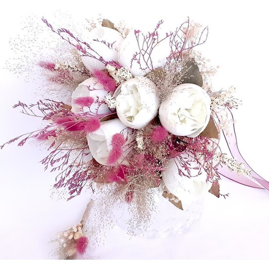 Öz Dokunuş Gelin Buketi Düğün Çiçeği Yapa Çiçek Gül Demeti