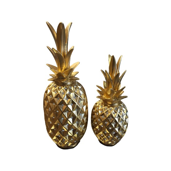 Blz Home Taşlı Ananas Biblo 2'li Set